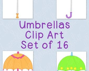 Umbrellas Clip Art Bundle Spring April PNG JPG Blackline Commercial Personal Hand Drawn Line Art