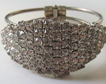 Vintage Dazzling Rhinestone Clamper Bracelet