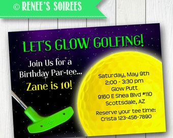 Glow GOLF INVITATION - Printable Mini Golf Birthday Invite - Personalized DIY - Miniature Golf invitation