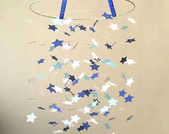 Blue Skys Star Mobile / / / Nursery Decor, Photo Prop, Baby Shower Gift, Crib Mobile.