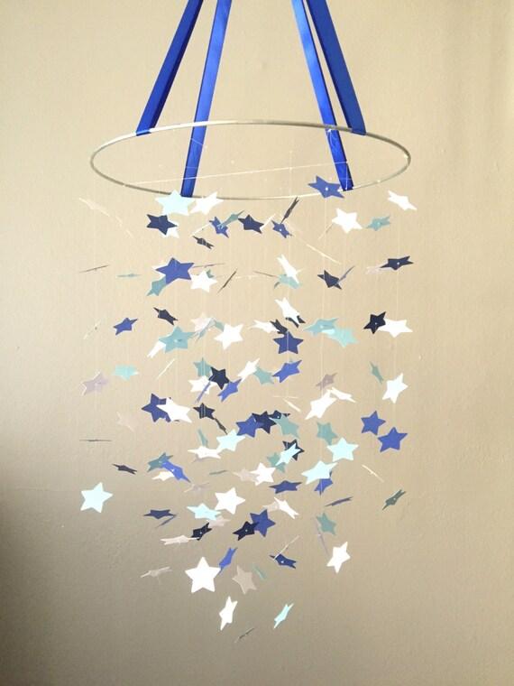 Blue Skys Star Mobile / / / Nursery Decor, Photo Prop, Baby Shower Gift, Crib Mobile.