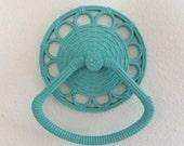 Turquoise Towel Holder - Vintage Travel Trailer RV - Faux Wicker - Towel Rack Rings - Bathroom Decor - Homco - Aqua Bathroom - Plastic 1978