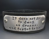 Personalized Hand Stamped Leather Cuff Bracelet /  Custom engraving / Gifts for her / Graduation Gifts / Inspirational Jewelry