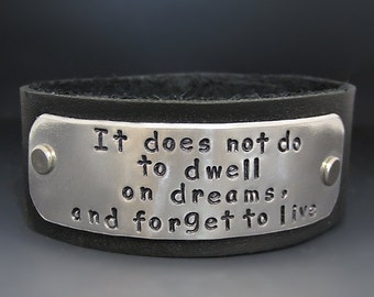 Custom Hand Stamped Leather Cuff Bracelet - Personalized