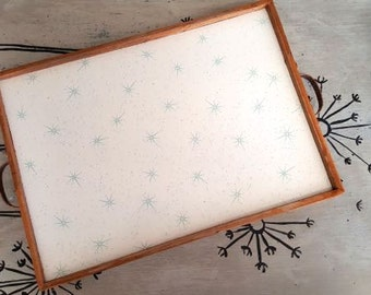 Tray Drink Tray Serving Tray Modern Tray Starburst Turquoise Tray Mid Century Modern Wood Tray