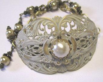 Victorian Art Nouveau Style Antique Ivory Faux Pearl Brass Bridal Cuff Bracelet, Ivory Bridal Bracelet, Bridal Jewelry, Antique Ivory