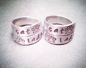 Cat Lady Stamped Silver Ring with Paw Prints