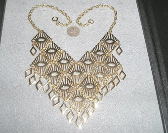 Vintage Bib Necklace Gold Tone With Dangles 1960's Jewelry 2275