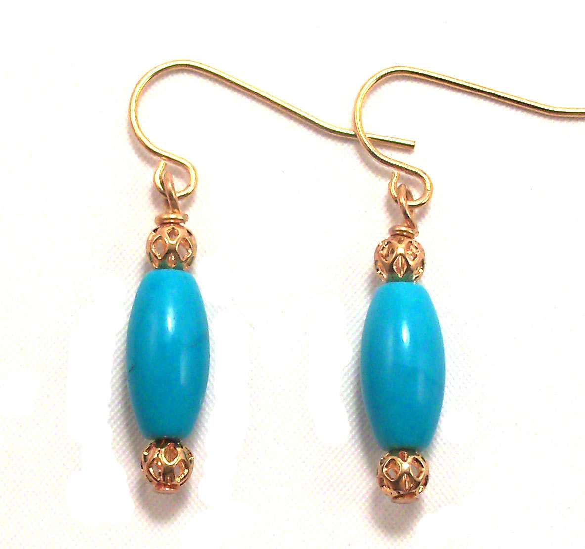 Small Blue Earrings: Small Blue Turquoise Drop Earrings