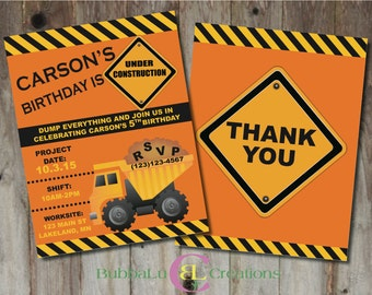 Construction Birthday Invitation and matching Thank You. Personalized Construction Invite. Construction Birthday. Custom Birthday Invitation