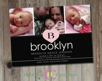 Baby Girl Birth Announcement. Personalized Birth Announcement. Pink Baby Announcement. Photo Birth Announcement. Newborn Announcement Card.