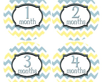Month by Month Stickers, Baby Month Stickers, Yellow and Blue Baby Growth Stickers, First Year Stickers, Month Photo Stickers (365)