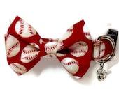 Red Baseball Bow Tie Dog Collar size Medium