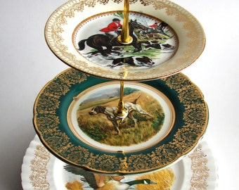 TALLY HO, 3 tier, Cake Stand, Recycled vintage plates, green gold black, hunting, dogs, ducks, geese, hounds, wedding, country life