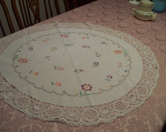 "Round Embroidered Doily Table Topper 36"" Diameter Hand Done Embroidery / Crochet"