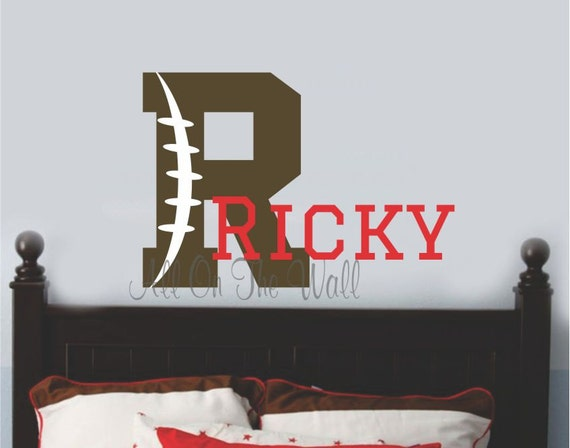 Football Wall Decal Monogram Initial Name Boys Sports Custom Decals Vinyl Lettering