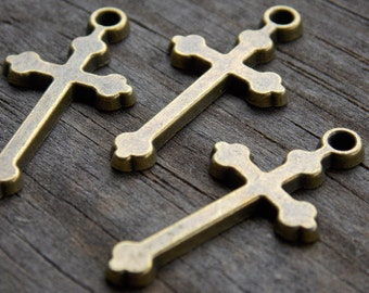 10 Antiqued Bronze Cross Charms 29mm