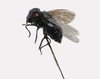 12 pc 3/4 Inch Fake Halloween Fly on 6 Inch Wire Pick,Fly Decoration, Halloween Decoration