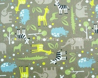 C726 - 1 meter Cotton Twill  Fabric - Cartton - Animal - elephant, zebra and tree