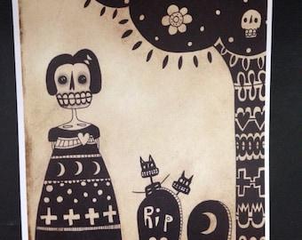Day of The Dead Skeleton Tree Cats Art Print Halloween Odd