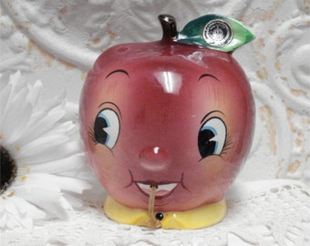 Vintage Anthro Anthropomorphic PY Apple String Holder Wall Pocket Exc