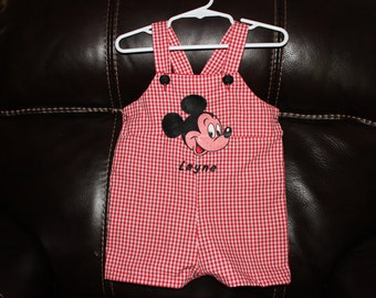 Mickey Mouse Red Gingham Romper Jon Jon personalized Birthday Outfit