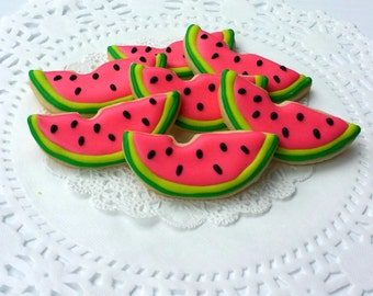 Mini Watermelon Slice Decorated Sugar Cookies