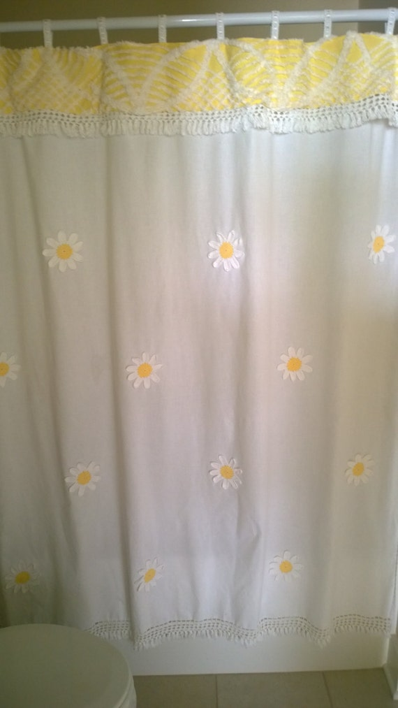 Shabby Chic Vintage Chenille Shower Curtain With By