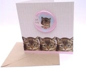 Cat Lady Large Pink Badge Blank Eco Friendly Art Square Greeting Card