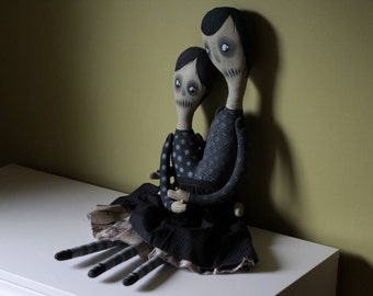 Siamese Twins Creepy Art Doll (Painted Cotton Doll)