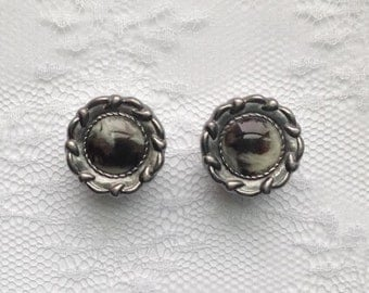 """Fancy Gunmetal Gray Silver Cream and Brown Swirl Center Vintage Style Pair Plugs Gauges Size: 5/8"""" (16mm)"""
