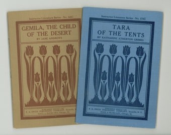 2 Instructor Literature Series Books, Tara of the Tents, Gemila Child of the Desert Children Vintage Books Antique Children's School Books