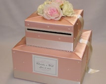 Shabby Chic theme Peach/Ivory/Pale Pink Wedding Card box- pearl accents
