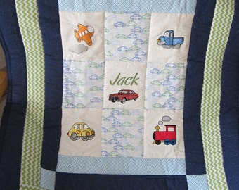 Cars,Trucks and Trains Baby Quilt