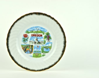 Vintage Commemorative Plate for State of Oregon