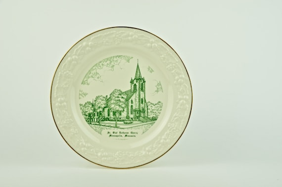 Vintage Commemorative Plate for St Olaf Lutheran Church, Minneapolis, MN