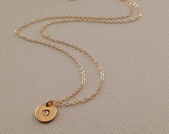 Tiny Initial Personalized Necklace in Gold