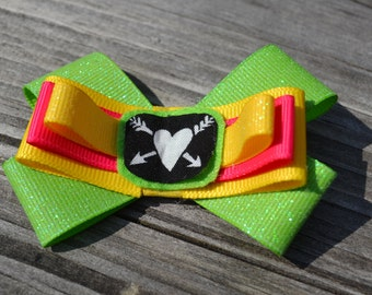 Girls, Japanese, Heart, Yellow, Pink, And Green, Bow, Hair Clip