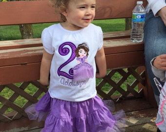 Princess Sofia Birthday Outfit, Embroidered Sofia Outfit, little girls twirl skirt, Birthday outfit