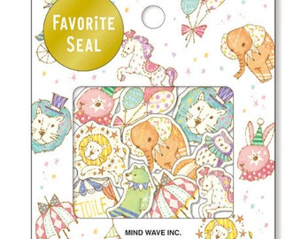 Paper Deco Flake Sticker Set - Favorite Seal - Circus - 10 Designs - 70 Pcs