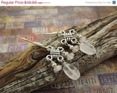 SUMMER SALE Celtic Knot Link Earrings Rose Quartz