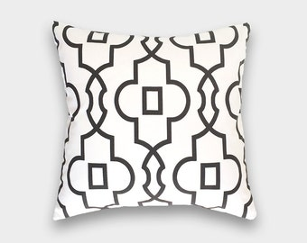 Black Bordeaux Pillow Cover. Geometric Lattice. Choose from 12 Sizes. Cushion Cover.