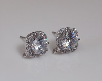 2 Pcs - CZ Square Cushion Studs with Stainless Steel Post, Earring Stud, Cubic Zirconia Earrings, Findings, Bridal, Bridesmaid SAN15009
