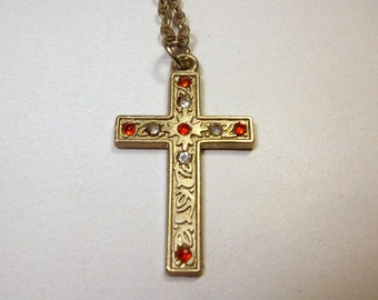 Vintage CROSS Red and Clear RHINESTONES / Silver Tone / Necklace - Pendant with Chain / Jewelry / Religious - Spiritual / Pretty