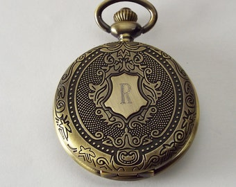 Personalized Pocket Watch Custom Engraved Bronze Antique Look Fancy Crest Quartz  - Hand Engraved