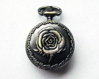 Rose Locket - antique bronze, purple