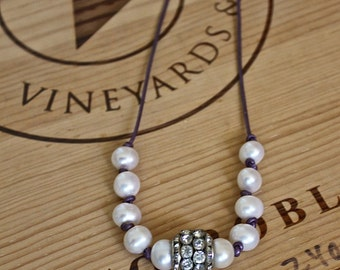 Large Pearl and Rhinestone Charm Necklace