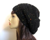 Crochet Slouchy Hat Charcoal Tweed Hat Slouchy hat crochet charcoal hat slouch Knit Beanie slouch Beret Crochet Slouch Hat Tweed Slouchy Cap
