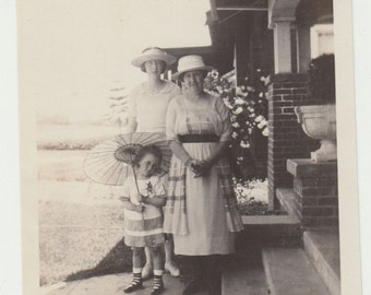 Vintage/ Antique Photo of 2 women and a girl holding an umbrella