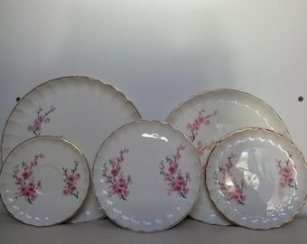 Vintage WS George China Plates, Peach Blossom Bolero Pattern, Flowers Up, Serving, Dinnerware